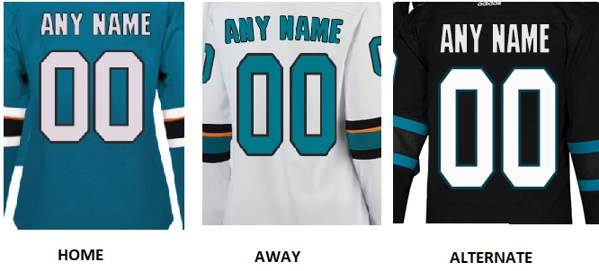 SAN JOSE Pro Hockey Number Kit